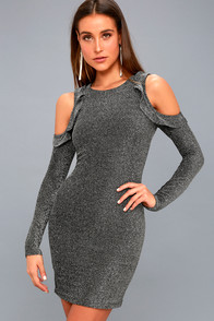 Kace Black And Silver Cold Shoulder Bodycon Dress at Lulus.com!