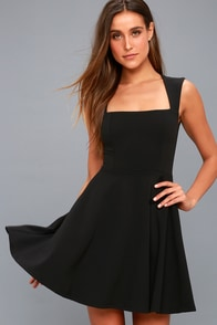 Royal Court Black Skater Dress at Lulus.com!