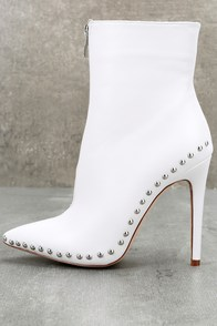 Tamsin White Studded High Heel Booties at Lulus.com!