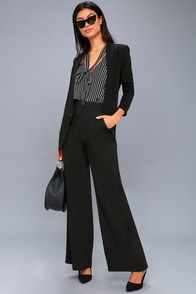 Harrison Black Wide-Leg Trouser Pants at Lulus.com!