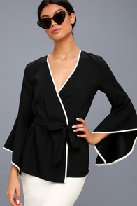Auden Black And White Flounce Sleeve Wrap Top at Lulus.com!