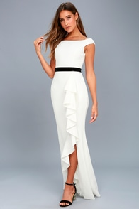 Ballroom Bound White Off-the-Shoulder Maxi Dress