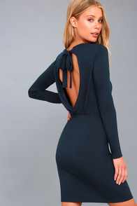 Vision Of Love Navy Blue Long Sleeve Bodycon Dress at Lulus.com!