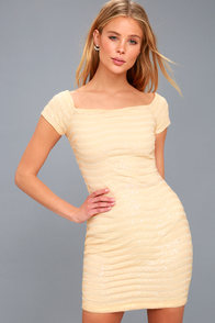 Magical Moonlight Cream Sequin Off-the-Shoulder Bodycon Dress at Lulus.com!