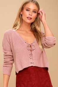 Wyatt Mauve Lace-Up Cropped Sweater at Lulus.com!