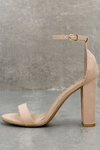 Taylor Nude Suede Ankle Strap Heels at Lulus.com!