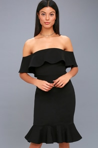 Confidence Boost Black Off-the-Shoulder Bodycon Dress