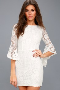 Allure 'Em In White Lace Bell Sleeve Bodycon Dress at Lulus.com!