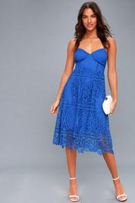 Lovely Royal Blue Lace Dress - Midi Dress - Handkerchief ... - photo #5