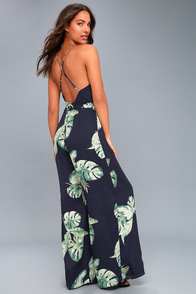 Give Me A Tropical Navy Blue Tropical Print Backless Jumpsuit
