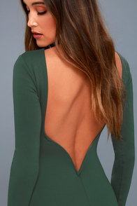 Va Va Voom Forest Green Backless Midi Dress
