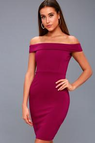 Chic Red Dress Off The Shoulder Dress Midi Dress