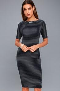 West Village Navy Blue Striped Bodycon Midi Dress