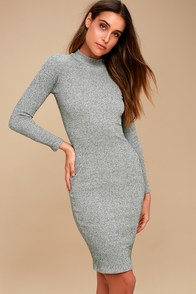 Chic Grey Dress - Midi Dress - Bodycon Dress - Sweater Dress - $59.00