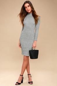 I Mist You Heather Grey Midi Sweater Dress