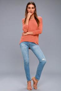 Zip to My Lou Rusty Rose Sweater Top