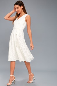 Siana White Lace Wrap Midi Dress