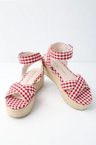 Zala Red and White Gingham Espadrille Flatform Sandals