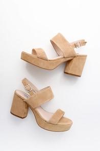 Reba Tan Suede Leather Platform Sandals