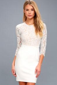 She Knows White Lace Bodycon Dress