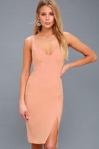 Iconic Moment Blush Pink Bodycon Midi Dress