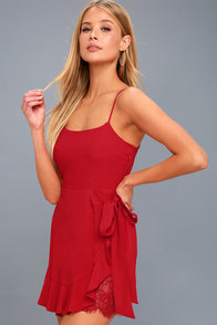 Love's Young Dream Red Wrap Dress at Lulus.com!