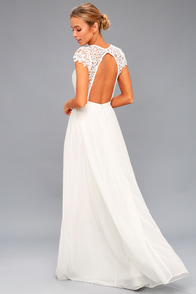 Florianna White Backless Lace Maxi Dress