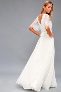 Daphne White Lace Maxi Dress
