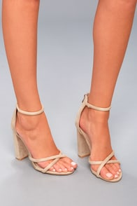 Chic Taupe Heels Single Sole Heels Suede Lace Up Heels