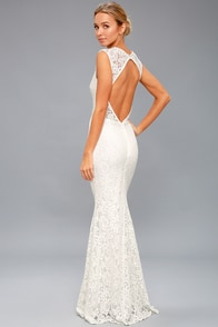 Stunning Lace Maxi Dress Mermaid Dress White Maxi Dress