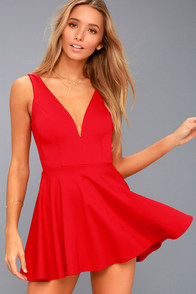 I Feel Good Red Skort Dress at Lulus.com!