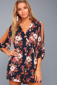 Luck and Love Navy Blue Floral Print Long Sleeve Romper