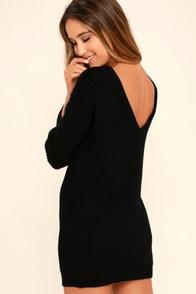 Bringing Sexy Back Black Backless Sweater Dress