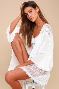 Sweet Nothings White Sheer Lace Kimono Top