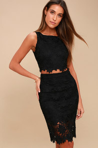 Look at Me Wow Black Lace Two-Piece Dress