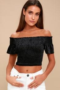 Farrah Black Smocked Velvet Off-the-Shoulder Crop Top