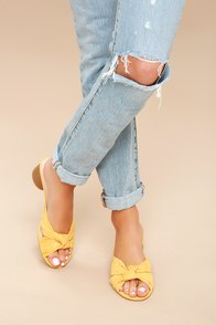 Luca Mustard Yellow Suede Mules at Lulus.com!