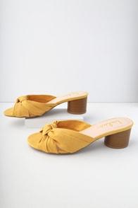 Luca Mustard Yellow Suede Mules
