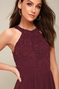 Lover's Game Burgundy Lace Skater Dress