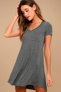 Better Together Grey Shirt Dress