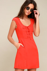 Sunny Spot Coral Red Lace-Up Dress