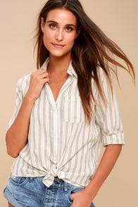 Coastal Calling Washed Navy Blue Striped Button-Up Top