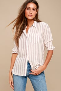 Coastal Calling Washed Burgundy Striped Button-Up Top