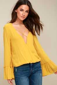 Ryland Mustard Yellow Long Sleeve Top at Lulus.com!