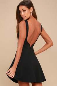 Special Kind of Love Black Backless Skater Dress