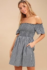 Happy And Plaid Black And White Gingham Off-the-Shoulder Dress at Lulus.com!