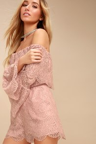 Kennedy Mauve Pink Lace Off-the-Shoulder Romper at Lulus.com!