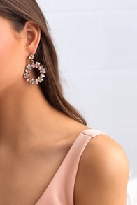 Finer Blings in Life Gold and Pink Rhinestone Earrings