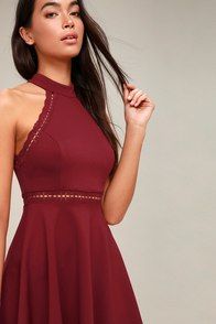 Reach Out My Hand Burgundy Lace Skater Dress at Lulus.com!