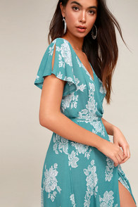 Heart Of Marigold Turquoise Floral Print Wrap Maxi Dress at Lulus.com!
